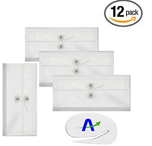 Value Bundle 12 Pack Side Open Clear Check Size Poly Envelopes, 10.25 x 5 x 1.25 in. with Tie String, Bonus AdvantageOP Letter Slitter Included (12) - Expandable Poly String Tie Envelopes