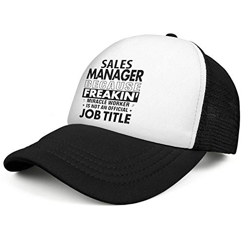 WJINX Sales Manager Because Freakin Miracle Worker is Not an Official Job Unisex Mesh Baseball Caps Adjustable -