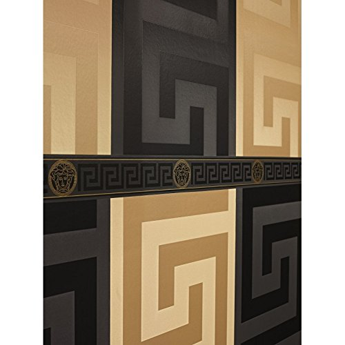 Band Wallpaper Versace 3 93522 4 Black With Raised Gold Versace Claw Set And Greek Roman Satin Glossy Black Buy Online In Bahrain Versace 3 Products In Bahrain