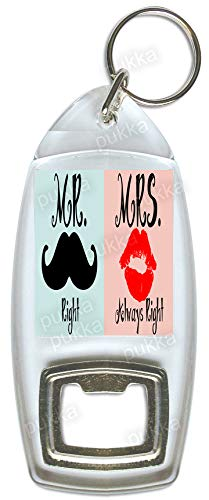 Llavero con abrebotellas «Mr Right & Mrs Always Right ...