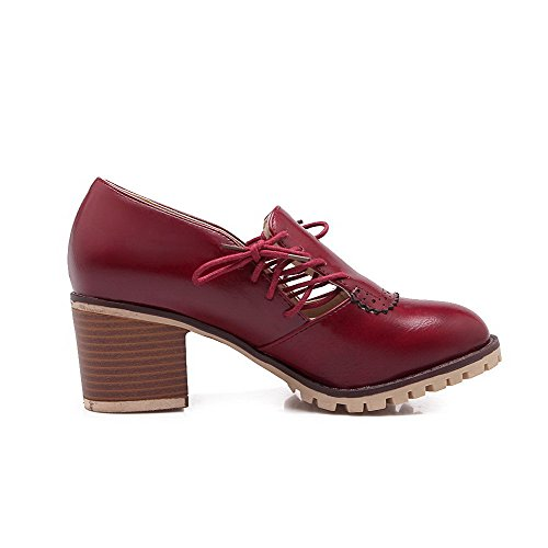 VogueZone009 Women's Soft Material Lace-up Closed Round Toe Kitten-Heels Solid Pumps-Shoes Claret icyFM4go