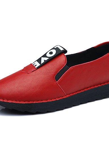 ZQ Zapatos de mujer - Tacón Plano - Plataforma / Comfort - Mocasines - Oficina y Trabajo / Vestido / Casual / Fiesta y Noche - Sintético - , black-us6 / eu36 / uk4 / cn36 , black-us6 / eu36 / uk4 / cn red-us6 / eu36 / uk4 / cn36