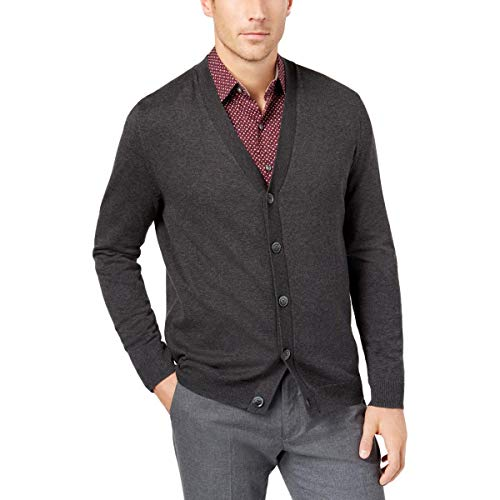 Tasso. Elba. Mens Gray V-Neck Heathered Button Front Cardigan Sweater XL -
