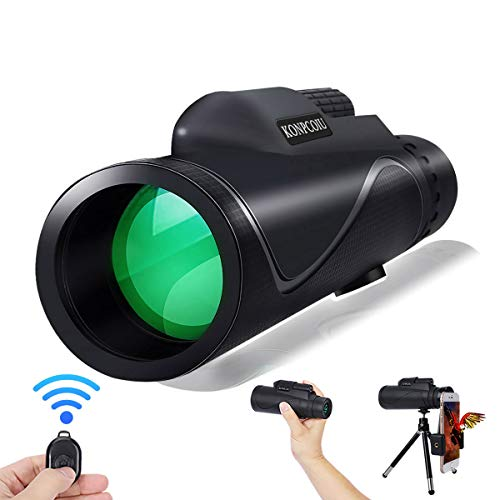 Monocular Telescope,12X50 High Power&HD Monocular with Universal Smartphone Holder and Wireless Remote Control…