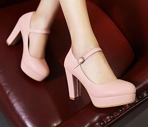 KHSKX-High Heel Of Thick Heel Waterproofing Pink Shoes One Word Buckle With Professional Leather Shoes Thirty-four 3FQZfxmy
