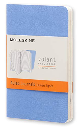 Moleskine Volant Journal, Soft Cover, XS (2.5 x 4) Ruled/Lined, Powder Blue (Set of 2)
