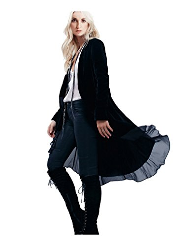 CA Mode Women's Velvet Lace Hem Cardigan Jacket Outwear Coat, Black, Small
