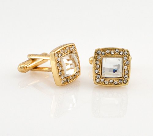 Elegant CZ Square Design Gold Tone Cufflinks Gift Boxed ()