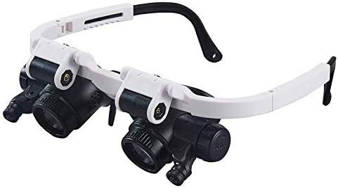 ZY-YY 読書作業クローズアップ2X 4X 25X軽量ハンドヘルドガラス用 - LED光源8X 15X 23Xデュアルレンズガラスとライトヘッドマウント読書拡大鏡、とグラス