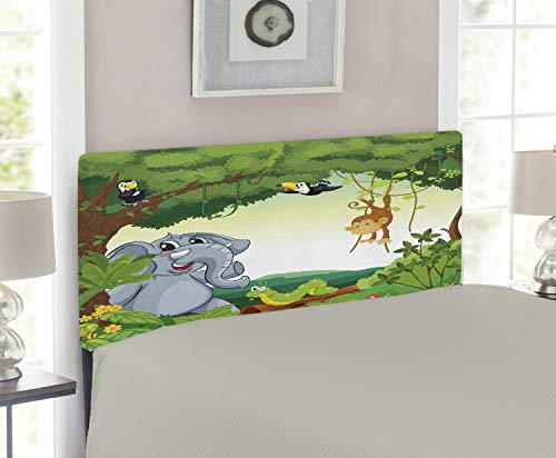 (Lunarable Animals Headboard, Cartoon Style Animals in Green Forest Elephant Chimpanzee Parrots Illustration, Upholstered Decorative Metal Headboard with Memory Foam, for Twin Size Bed, Multicolor)