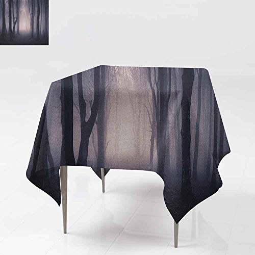 Fabric Dust-Proof Table Cover Path Through Dark Deep in Forest with Fog Halloween Creepy Twisted Branches Picture Table Decoration W36 xL36 Pink Brown -
