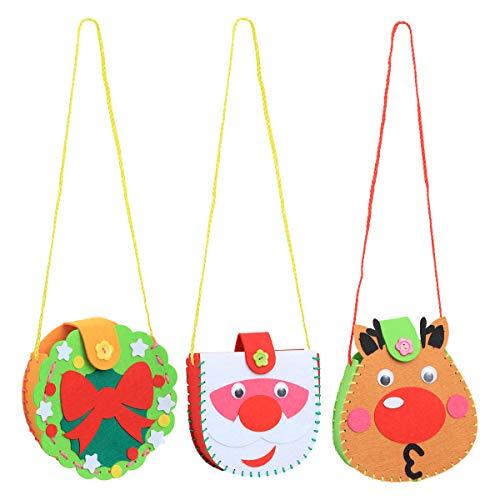 BESTOYARD 6pcs DIY Christmas Craft Handbag Materials Kids Handmade DIY with Snowman Reindeer Wreath for Xmas Party Accessories Favors Girls (Diy Snowman Wreath)