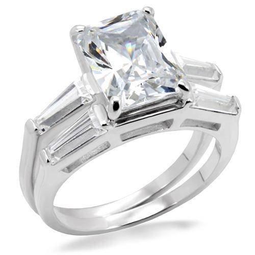 Yourjewellerybox - Anillo con detalle de anillo de matrimonio - para mujer - bañado en rodio