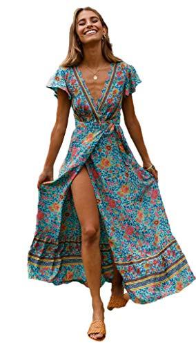 (Aublary Women's Bohemian Floral Printed Split Beach Party Maxi Dress Short Sleeve Wrap V Neck Waist Tie Long Flowy Dress (Green, X-Large))
