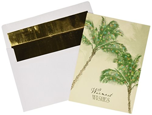 Masterpiece Studios Warmest Wishes Palm Trees Greetings, 18 Cards/Foil Lined Envelopes (844500)