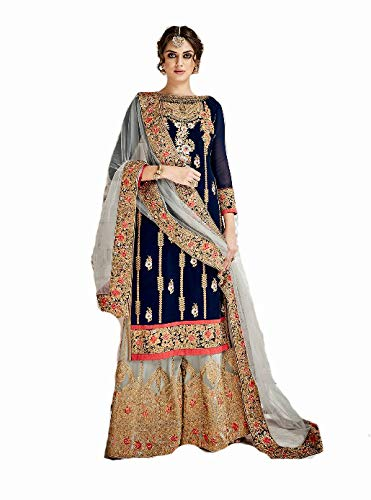 Delisa Pakistani Ethnic wear Georgette with Heavy Work Plaazo Salwar Kameez (Blue, M-40) by Delisa