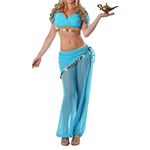 Quesera Women's Princess Jasmine Costume Adult Aladdin Belly Dance Stage Costume