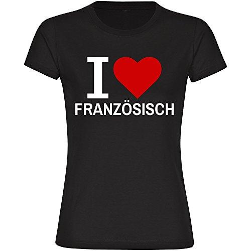 T-Shirt Classic I Love Französisch schwarz Damen Gr. S bis 2XL
