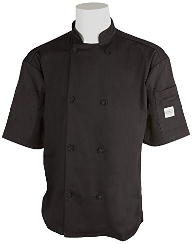 Mercer Culinary M61022BKS Genesis Men's Short Sleeve Chef Jacket with Cloth Knot Buttons, Small, Black - French Knot Chef Coat