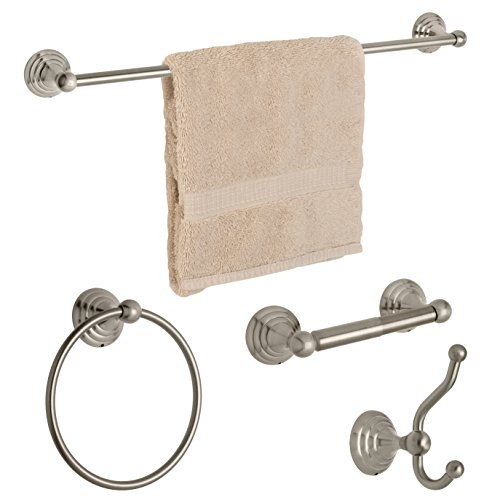 Dynasty Hardware 7500-SN-4PC Bel-Air Series Bathroom Hardware Set, Satin Nickel, 4-Piece Set, With 24