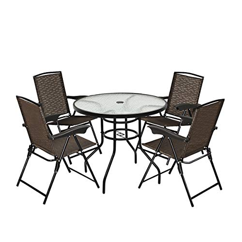 Goplus 5-Piece Bistro Set Outdoor Patio Furniture Weather Resistant Garden Round Table and 4 Folding Sling Chairs (4 Sling Chairs+Classic Table)