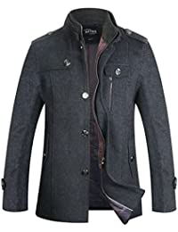 Men's Wool Coat Single Breasted Pea Coat Winter Jacket