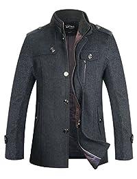 APTRO Men's Winter Wool Coat Single Breasted Wool Trench Coats Fleece Jacket