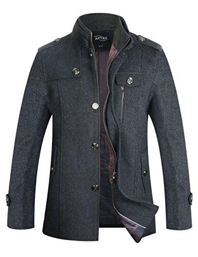 Mens Single Breasted Jacket (APTRO Men's Winter Slim Fit Wool Coat Single Breasted Wool Trench Jacket 1108 Gray XS)