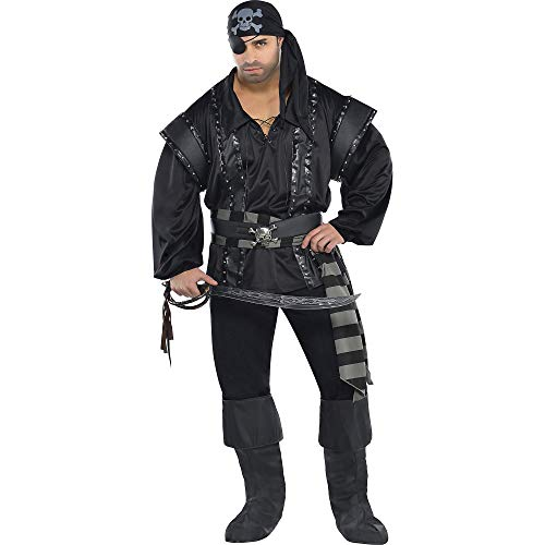 (AMSCAN Dark Sea Scoundrel Pirate Halloween Costume for Men, Plus Size, with Included)