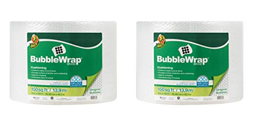 "Duck Brand Bubble Wrap Roll, 3/16"" Original Bubble Cushioning, 12"" x 150', Perforated Every 12"" - 2 Pack"