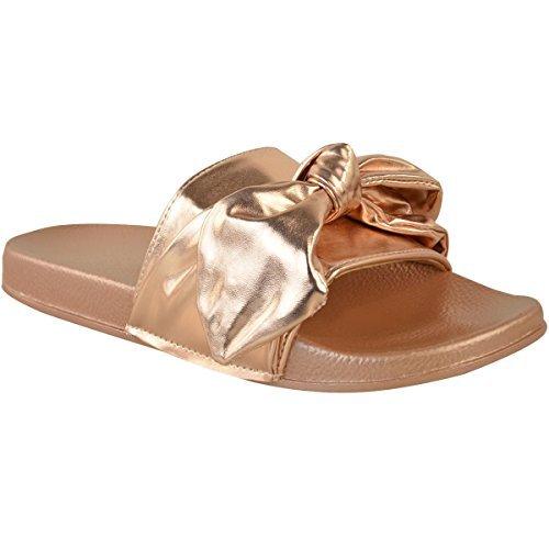 Fashion Thirsty Mujer Desliza Plano Slider Sandalias Pantuflas Pantuflas Zapatos Verano Números Oro Rosa Metálico