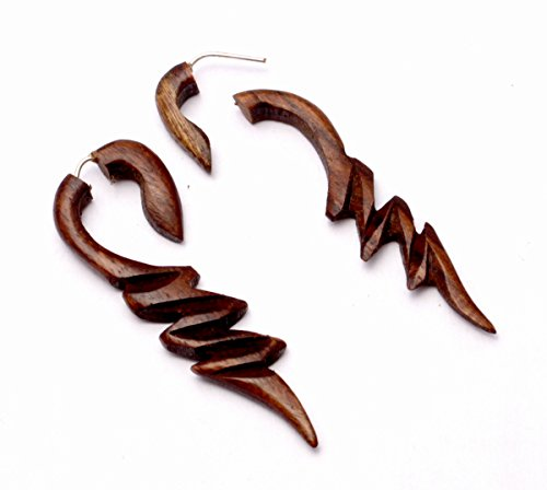 Baby Krishna Costume (A Pair of Natural Brown Coco Ebony Wood Wooden Boho Hippie Earrings Aisew_398)