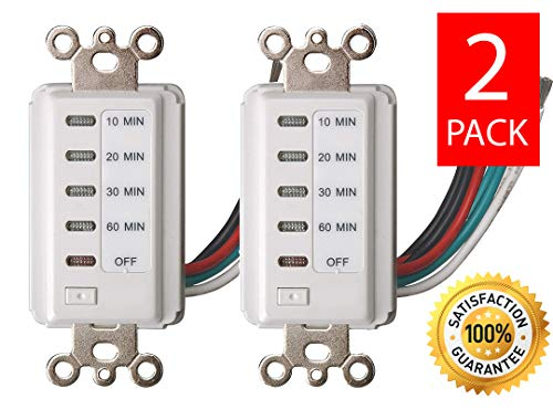 Bathroom Fan Timer Switch - Bathroom Fan Auto Shut Off 60-30-20-10 Minute Preset Countdown Wall Switch Timer White 60-Minute [2 PACK]