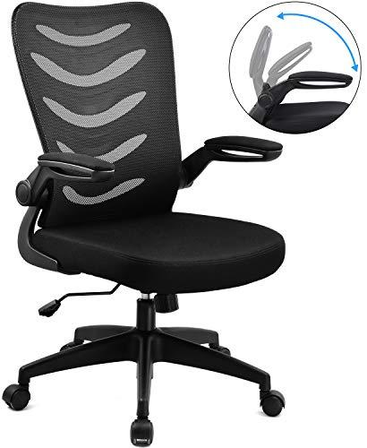 COMHOMA Silla de Oficina Silla de Escritorio Silla giratoria ergonomica Silla ejecutiva Silla de Red Negro