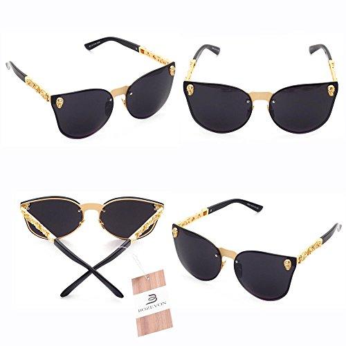 Oversized Rimless C6 gris Oro Mujer Cráneo BOZEVON Moda UV400 de Sol Gafas Hombre 7wRPqXI