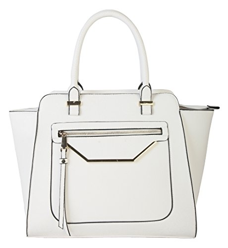rimen-co-shell-shape-tote-accented-with-front-zippered-pocket-womens-purse-handbag-gs-2993-white
