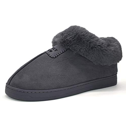 055e2b2bd6a6 Womens Faux Fur Slipper Boot Fuzzy Plush Cozy Suede Ankle Booties Memory  Foam Indoor House Slip on Shoes Dark-Gray