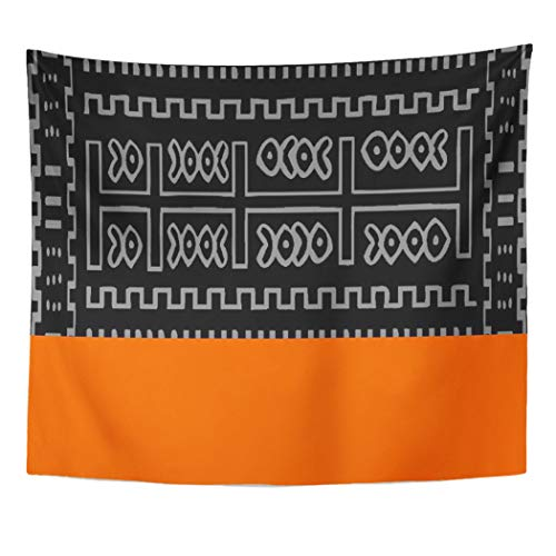 Semtomn Tapestry Artwork Wall Hanging Orange Geometric Awesome Abstract Pattern Tribal African Burnt Unique 60x80 Inches Tapestries Mattress Tablecloth Curtain Home Decor Print