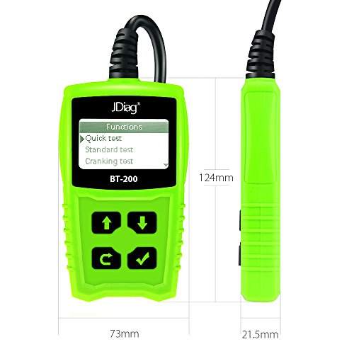 JDiag FasCheck BT-200 Professional Car Load Battery Tester 12V 100-2000 CCA 220AH Digital Battery Analyzer Bad Cell Test Tool for Automotive/Truck/Motorbike Etc(Green) by JDiag (Image #2)