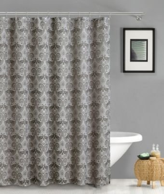 Duck River Textiles French Riviera Linen Look Shower Curtain Silver