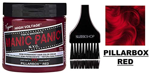 (MANIC PANIC CLASSIC Semi-Permanent HAIR COLOR Cream N.Y.C. (w/Sleek Tint Brush) Tish & Snooky's VEGAN High Voltage Haircolor Dye 4 oz / 118 ml (Pillarbox Red))