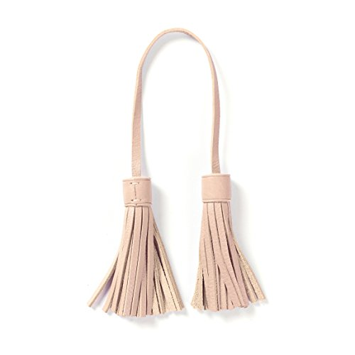 Tassel Bag Tag - Full Grain Leather Leather - Rose (pink) (Round Leather Tags Bag)