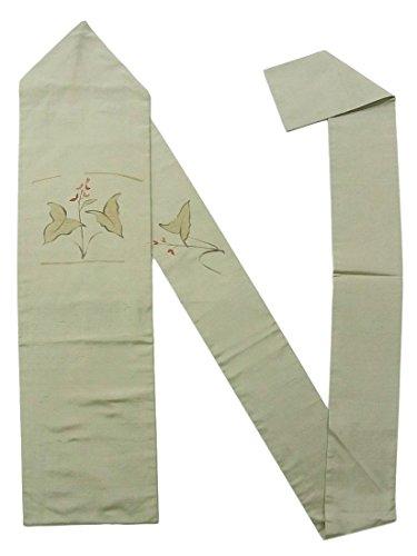 アーティファクト静める意味するリサイクル 名古屋帯 紬 沢瀉の意匠 刺繍 正絹