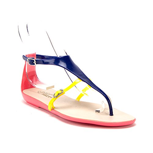 J'aime Aldo Women's Slip On T-Strap Jelly Summer Slides Sandals Shoes, Peach, 5.5