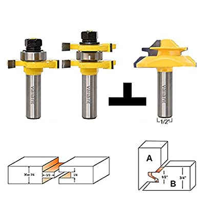 Valiant Tongue and Groove Router Bit Tool Set ½'' Shank With 45° Lock Miter Bit ½'' Shank - Solid Steel, Anti Kickback Design, Easy Operation - For Doors, Tables, Shelves, Walls, DIY Woodwork & More by Valiant