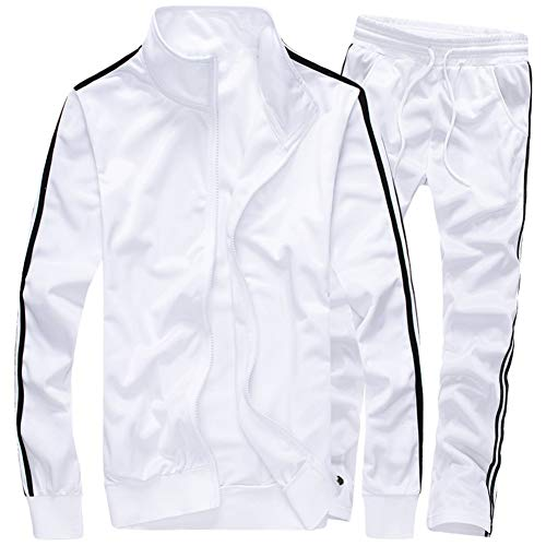 MACHLAB Men's Activewear Full Zip Warm Tracksuit Sports Set Casual Sweat Suit White XL