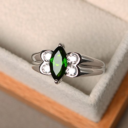 - Chrome diopside ring sterling silver marquise cut green gemstone