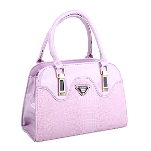 r CROCO Shoulder Handbags Casual Tote Messenger Bags Purple Hobos (Cellini Bread)