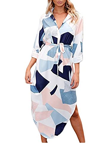 Vemper Womens V-Neck Long sleeves Floral Print Geometric Pattern Casual Dress With Belt, White, (Dresses With Geometric Pattern)