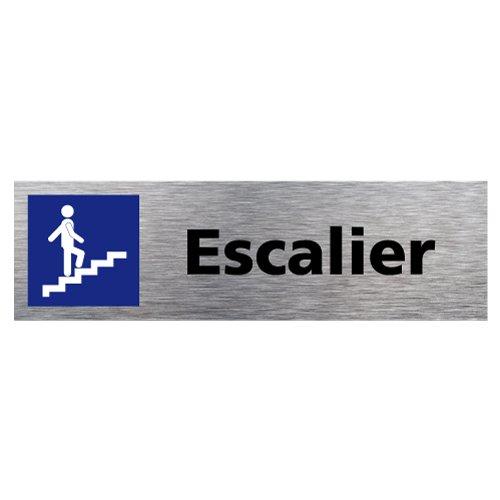 Plaque de porte Escalier - Adhésif Autocollant Sticker aspect Aluminium Brossé - Pictogramme Escalier Porte Rectangle Dimensions 170 x 50 mm - Escalier Signalétique.biz France Q0118